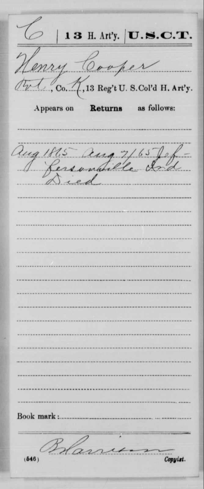 Cooper, Henry - Age [Blank], Year: 1865 - 13th US Colored Heavy Artillery, Misc Cards - United States Colored Troops: Artillery Organizations