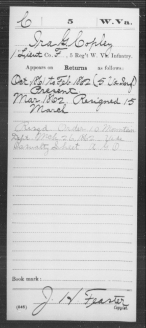 Copley, Ira G - Age [Blank], Year: 1861 - Miscellaneous Card Abstracts of Records - West Virginia