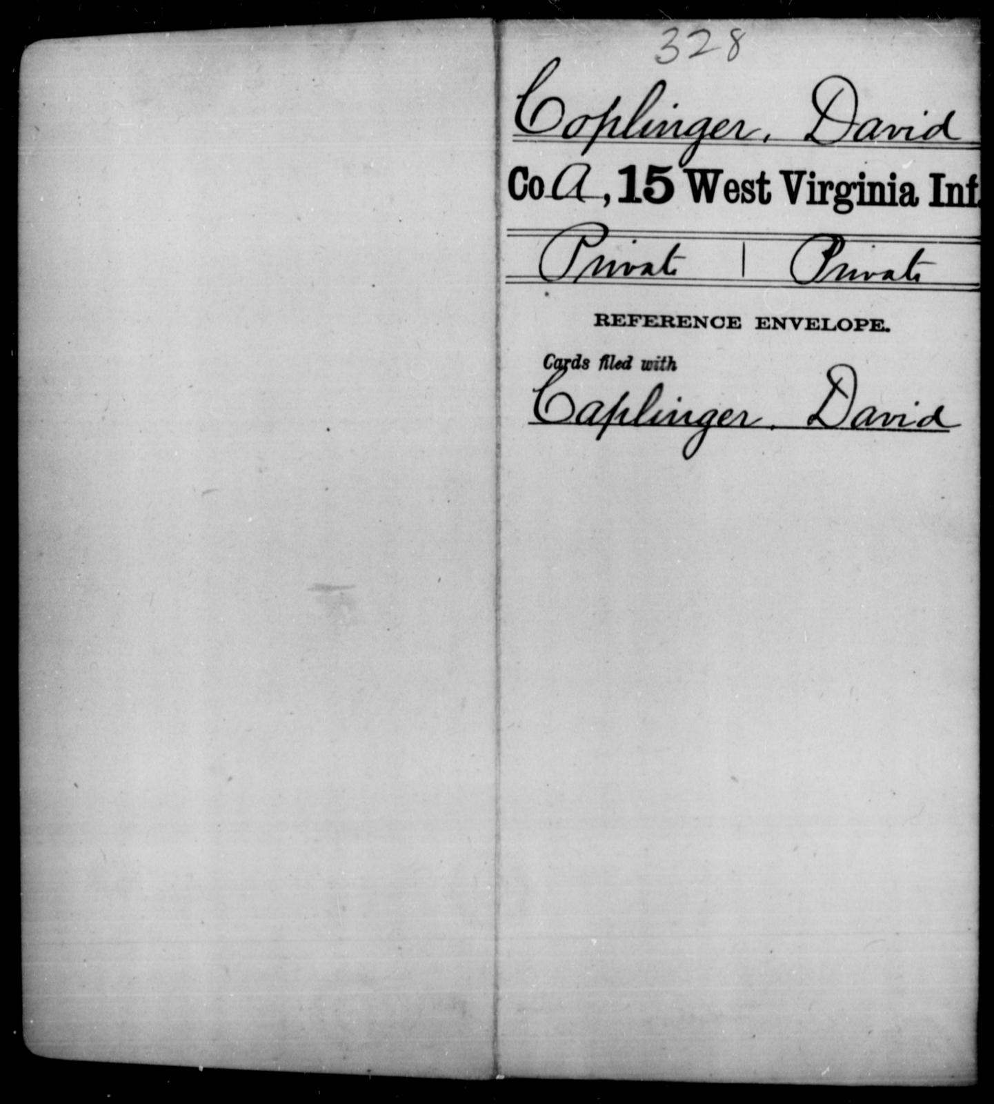 Coplinger, David - Age [Blank], Year: [Blank] - Fifteenth Infantry - West Virginia