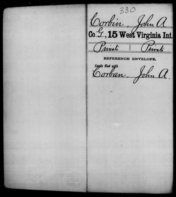 Corbin, John A - Age [Blank], Year: [Blank] - Fifteenth Infantry - West Virginia