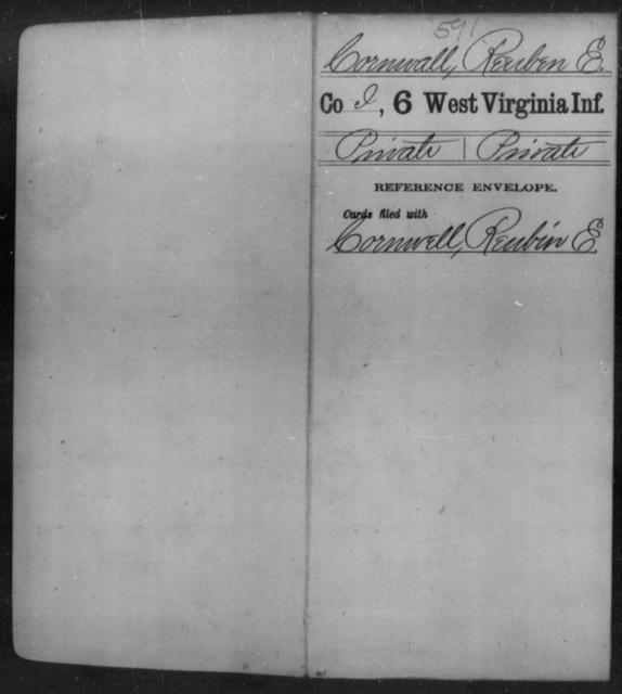 Cornwall, Reuben E - Age [Blank], Year: [Blank] - Sixth Infantry - West Virginia