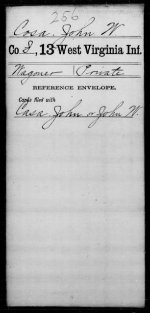 Cosa, John W - Age [Blank], Year: [Blank] - Thirteenth Infantry, A-W - West Virginia
