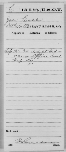 Coss, Joe - Age [Blank], Year: 1865 - 13th US Colored Heavy Artillery, Misc Cards - United States Colored Troops: Artillery Organizations