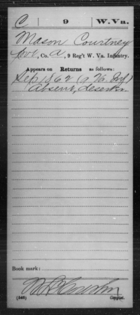 Courtney, Mason - Age [Blank], Year: 1862 - Miscellaneous Card Abstracts of Records - West Virginia