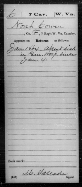 Cowen, Noah - Age [Blank], Year: 1864 - Miscellaneous Card Abstracts of Records - West Virginia