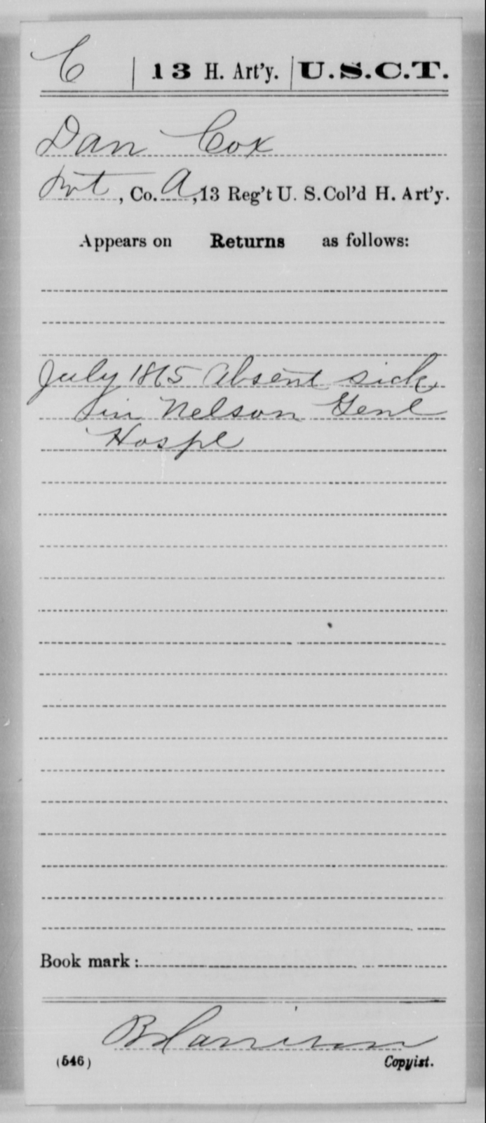 Cox, Dan - Age [Blank], Year: 1865 - 13th US Colored Heavy Artillery, Misc Cards - United States Colored Troops: Artillery Organizations