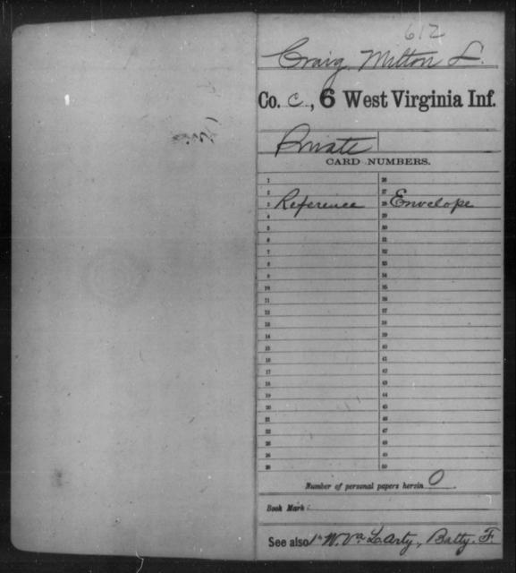 Craig, Milton L - Age [Blank], Year: [Blank] - Sixth Infantry - West Virginia