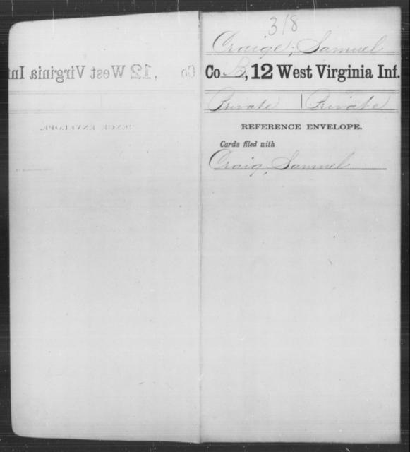 Craige, Samuel - Age [Blank], Year: [Blank] - Twelfth Infantry - West Virginia
