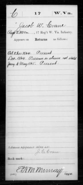 Crane, Jacob W - Age [Blank], Year: 1864 - Miscellaneous Card Abstracts of Records - West Virginia