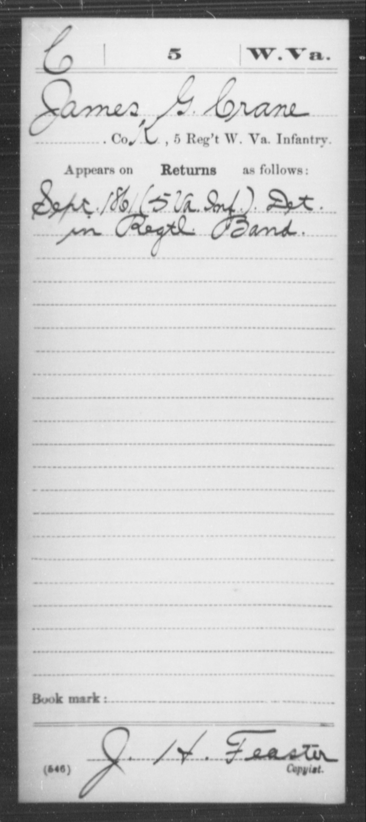 Crane, James G - Age [Blank], Year: 1861 - Miscellaneous Card Abstracts of Records - West Virginia