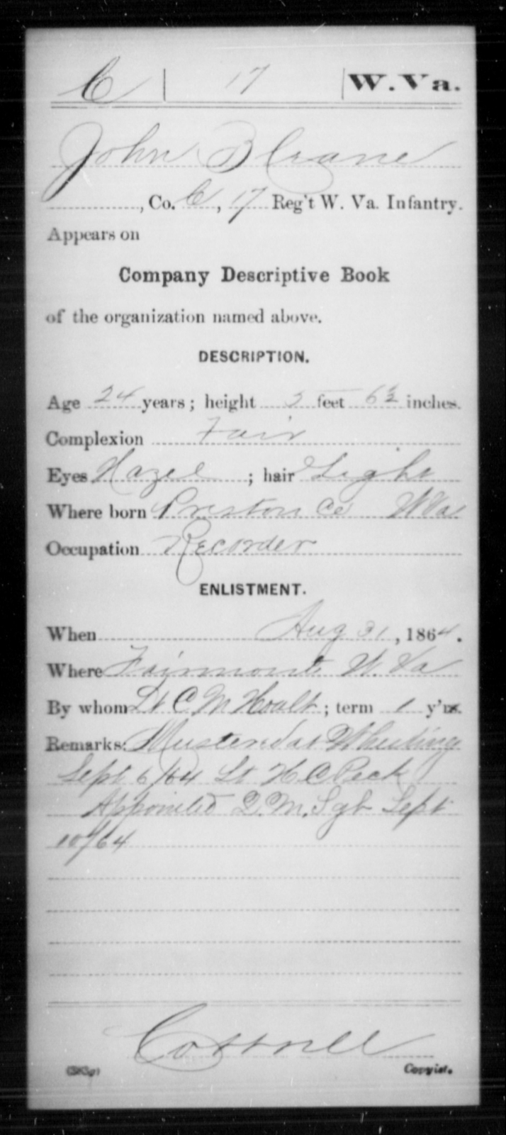 Crane, John B - Age 24, Year: 1864 - Miscellaneous Card Abstracts of Records - West Virginia