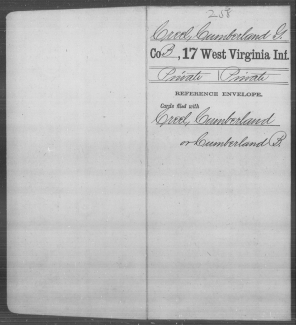 Creel, Cumberland G - Age [Blank], Year: [Blank] - Seventeenth Infantry - West Virginia