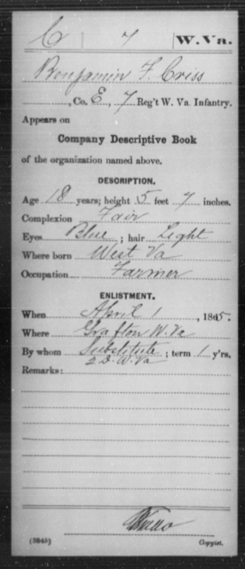 Criss, Benjamin F - Age 18, Year: 1865 - Miscellaneous Card Abstracts of Records - West Virginia