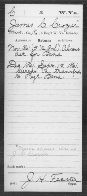 Crozier, James C - Age [Blank], Year: 1861 - Miscellaneous Card Abstracts of Records - West Virginia