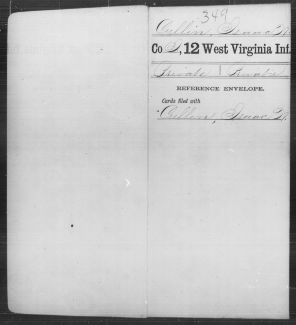 Cullin, Isaac N - Age [Blank], Year: [Blank] - Twelfth Infantry - West Virginia