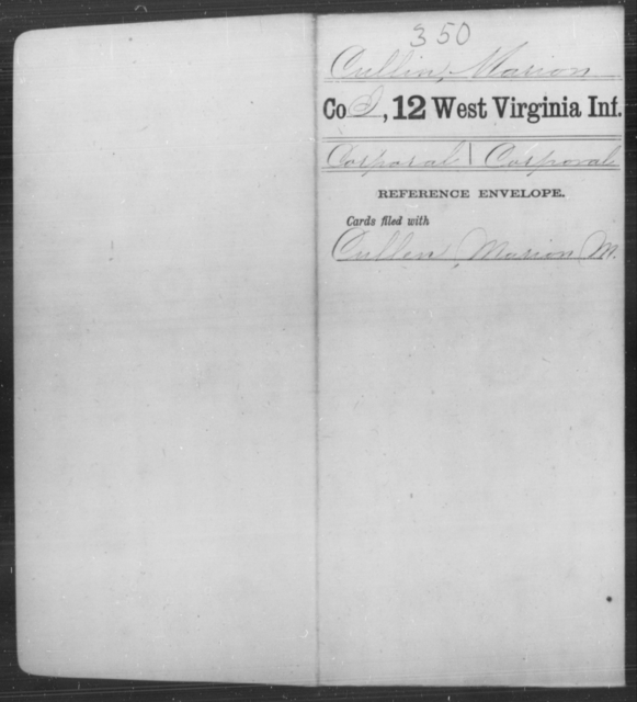 Cullin, Marion - Age [Blank], Year: [Blank] - Twelfth Infantry - West Virginia