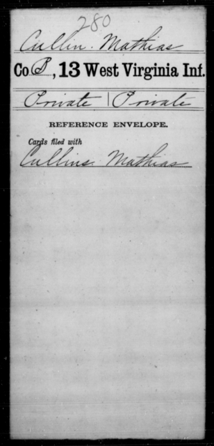 Cullin, Mathias - Age [Blank], Year: [Blank] - Thirteenth Infantry, A-W - West Virginia
