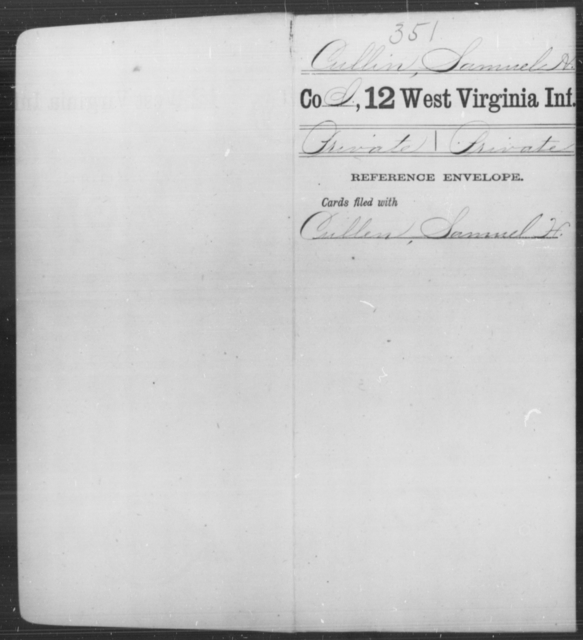 Cullin, Samuel H - Age [Blank], Year: [Blank] - Twelfth Infantry - West Virginia