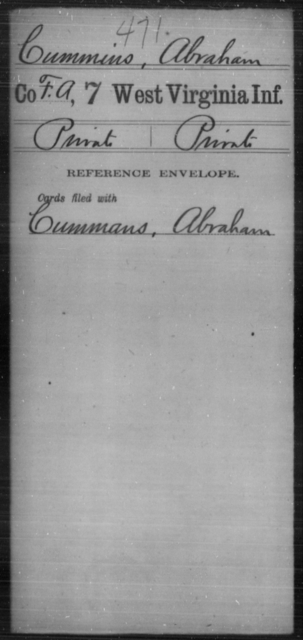 Cummins, Abraham - Age [Blank], Year: [Blank] - Seventh Infantry - West Virginia