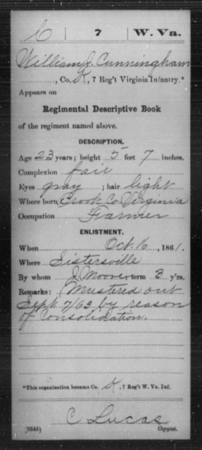 Cunningham, William J - Age 23, Year: 1861 - Miscellaneous Card Abstracts of Records - West Virginia