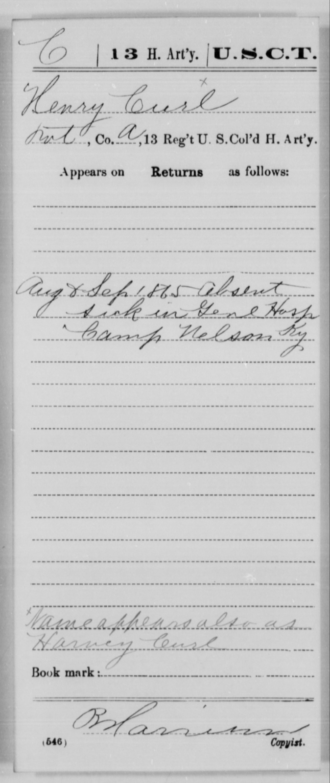 Curl, Henry - Age [Blank], Year: 1865 - 13th US Colored Heavy Artillery, Misc Cards - United States Colored Troops: Artillery Organizations