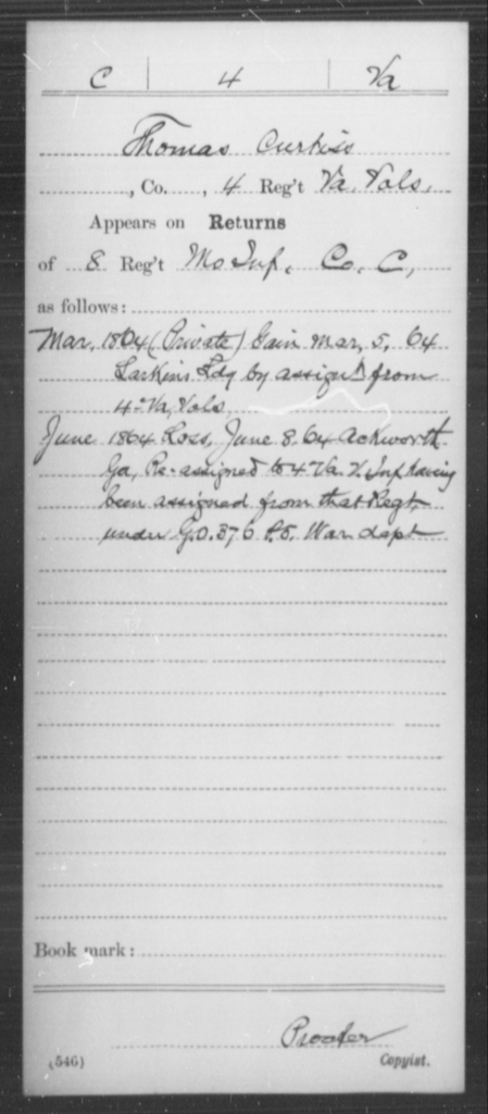 Curtiss, Thomas - Age [Blank], Year: 1864 - Miscellaneous Card Abstracts of Records - West Virginia