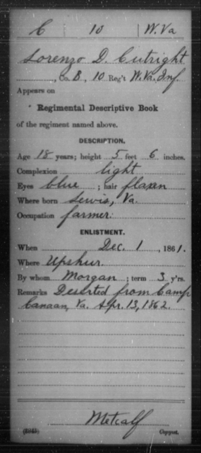 Cutright, Lorenzo D - Age 18, Year: 1861 - Miscellaneous Card Abstracts of Records - West Virginia