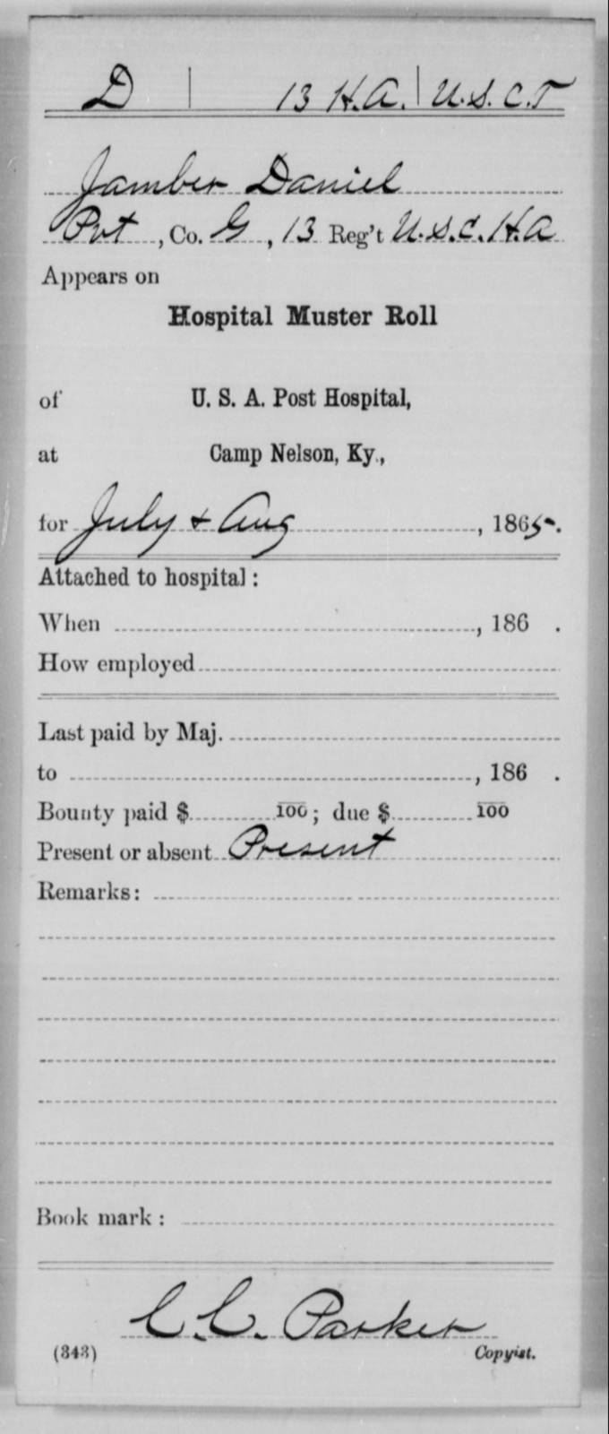 Daniel, Jamber - Age [Blank], Year: 1865 - 13th US Colored Heavy Artillery, Misc Cards - United States Colored Troops: Artillery Organizations