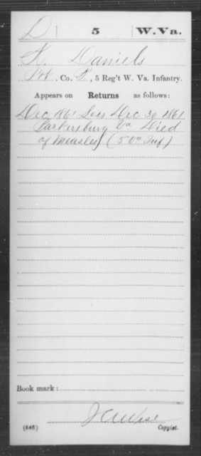 Daniels, K - Age [Blank], Year: 1861 - Miscellaneous Card Abstracts of Records - West Virginia