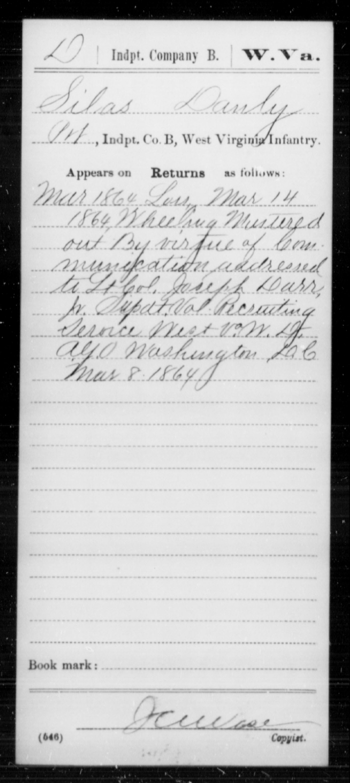 Danly, Silas - Age [Blank], Year: 1864 - Miscellaneous Card Abstracts of Records - West Virginia
