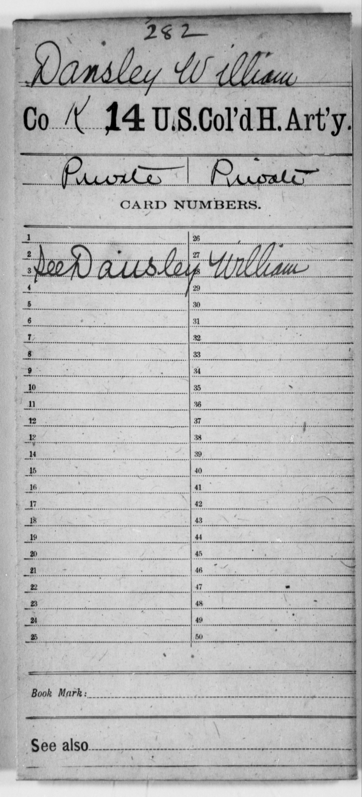 Dansley, William - Age [Blank], Year: [Blank] - 14th US Colored Heavy Artillery - United States Colored Troops: Artillery Organizations