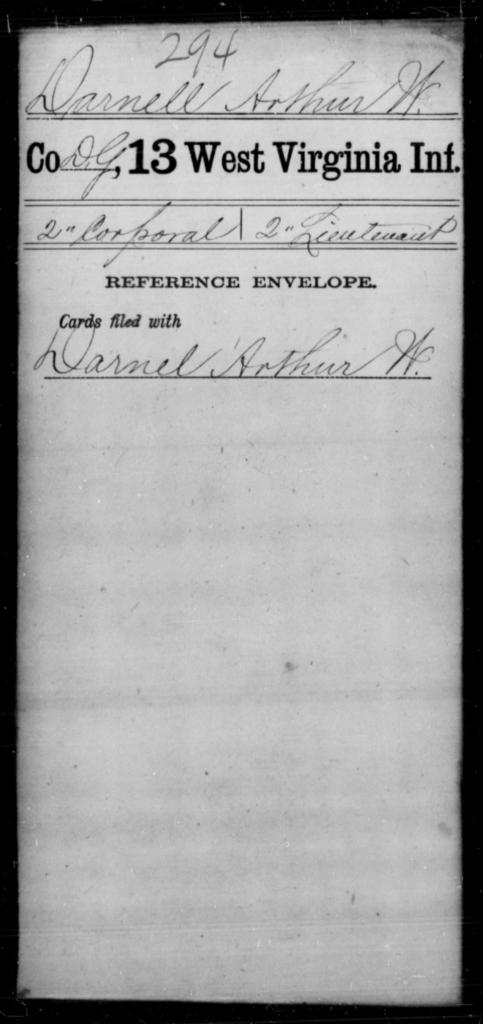 Darnell, Arthur W - Age [Blank], Year: [Blank] - Thirteenth Infantry, A-W - West Virginia