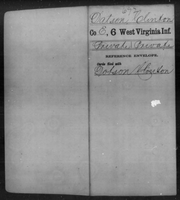 Datson, Clinton - Age [Blank], Year: [Blank] - Sixth Infantry - West Virginia