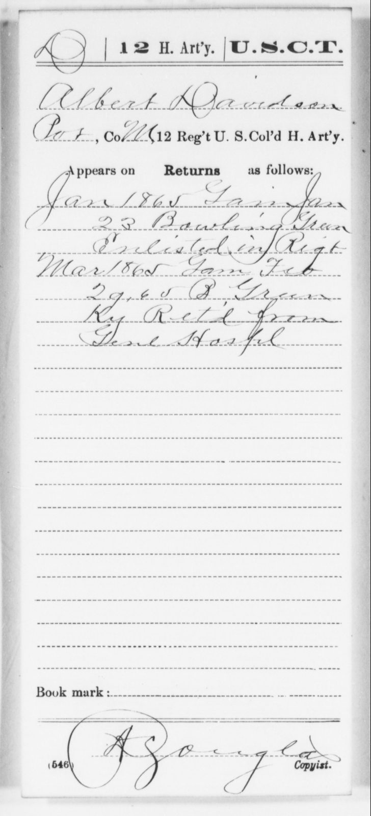 Davidson, Albert - Age [Blank], Year: 1865 - 12th US Colored Heavy Artillery, Wo-Y AND Misc Cards, B-H - United States Colored Troops: Artillery Organizations