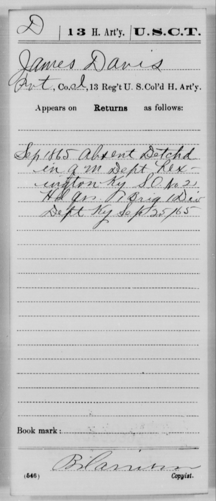 Davis, James - Age [Blank], Year: 1865 - 13th US Colored Heavy Artillery, Misc Cards - United States Colored Troops: Artillery Organizations