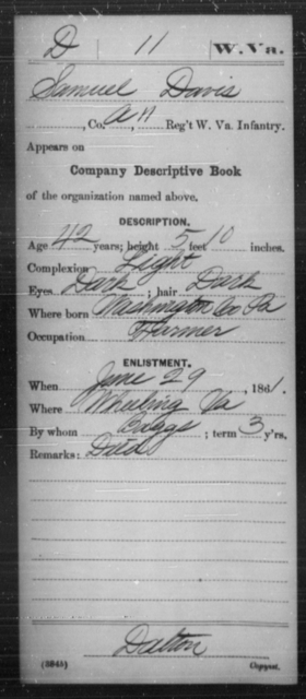 Davis, Samuel - Age 42, Year: 1861 - Miscellaneous Card Abstracts of Records - West Virginia