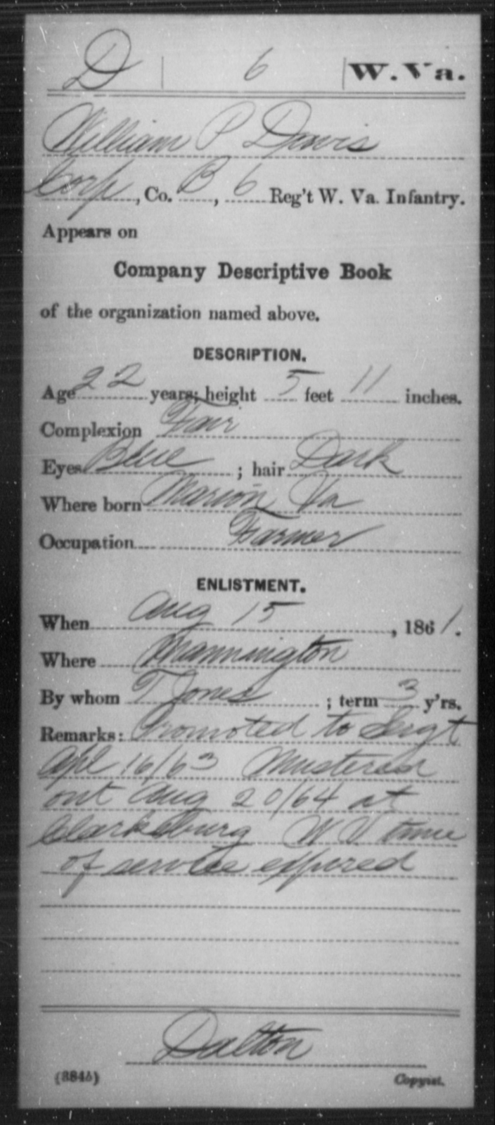 Davis, William P - Age 22, Year: 1861 - Miscellaneous Card Abstracts of Records - West Virginia