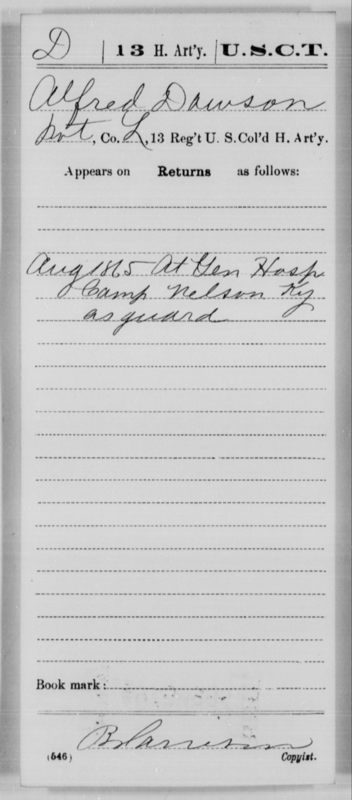 Dawson, Alfred - Age [Blank], Year: 1865 - 13th US Colored Heavy Artillery, Misc Cards - United States Colored Troops: Artillery Organizations