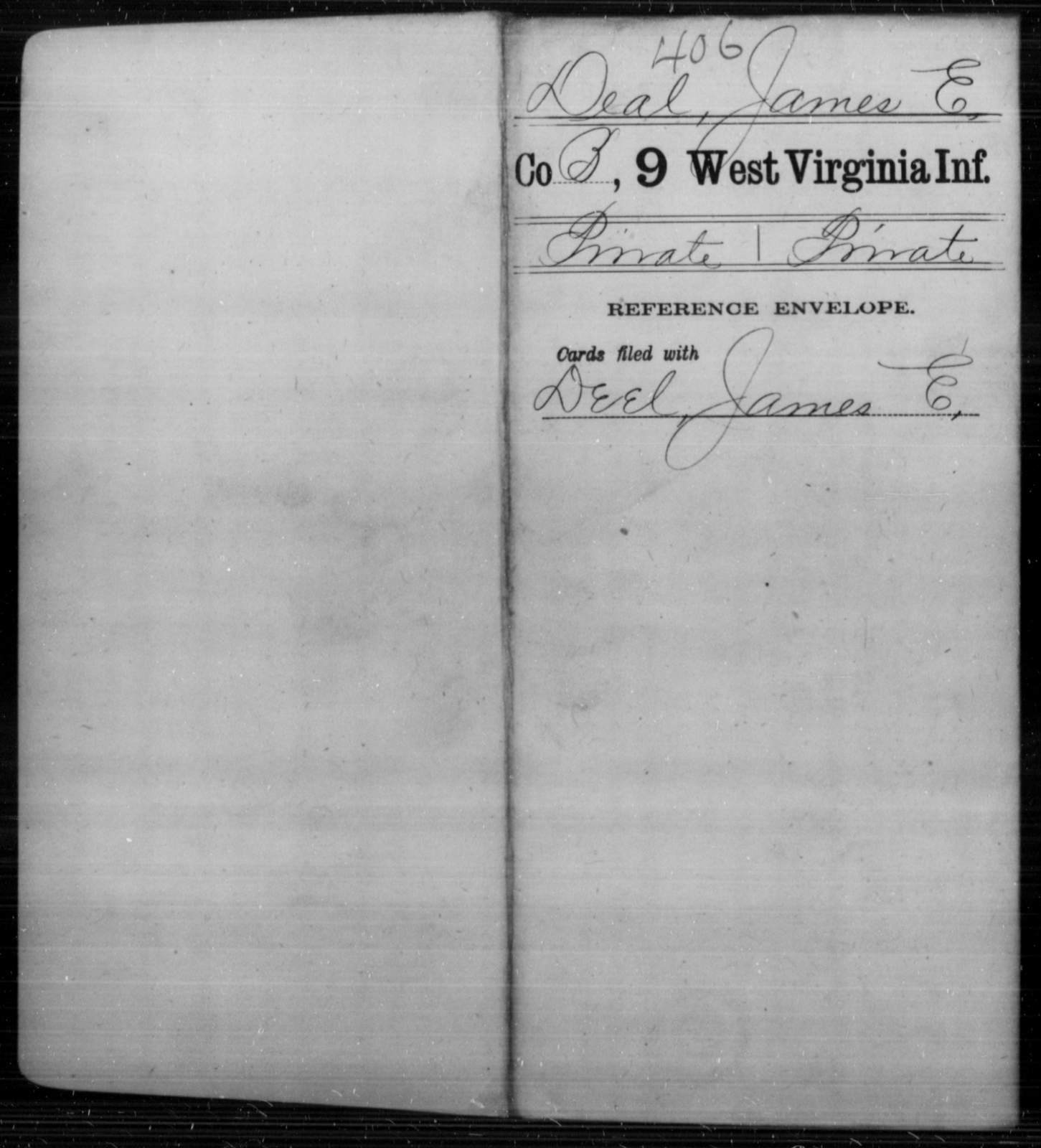 Deal, James E - Age [Blank], Year: [Blank] - Ninth Infantry - West Virginia