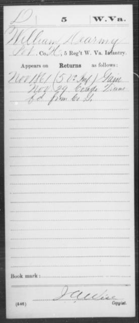 Dearmy, William - Age [Blank], Year: 1861 - Miscellaneous Card Abstracts of Records - West Virginia