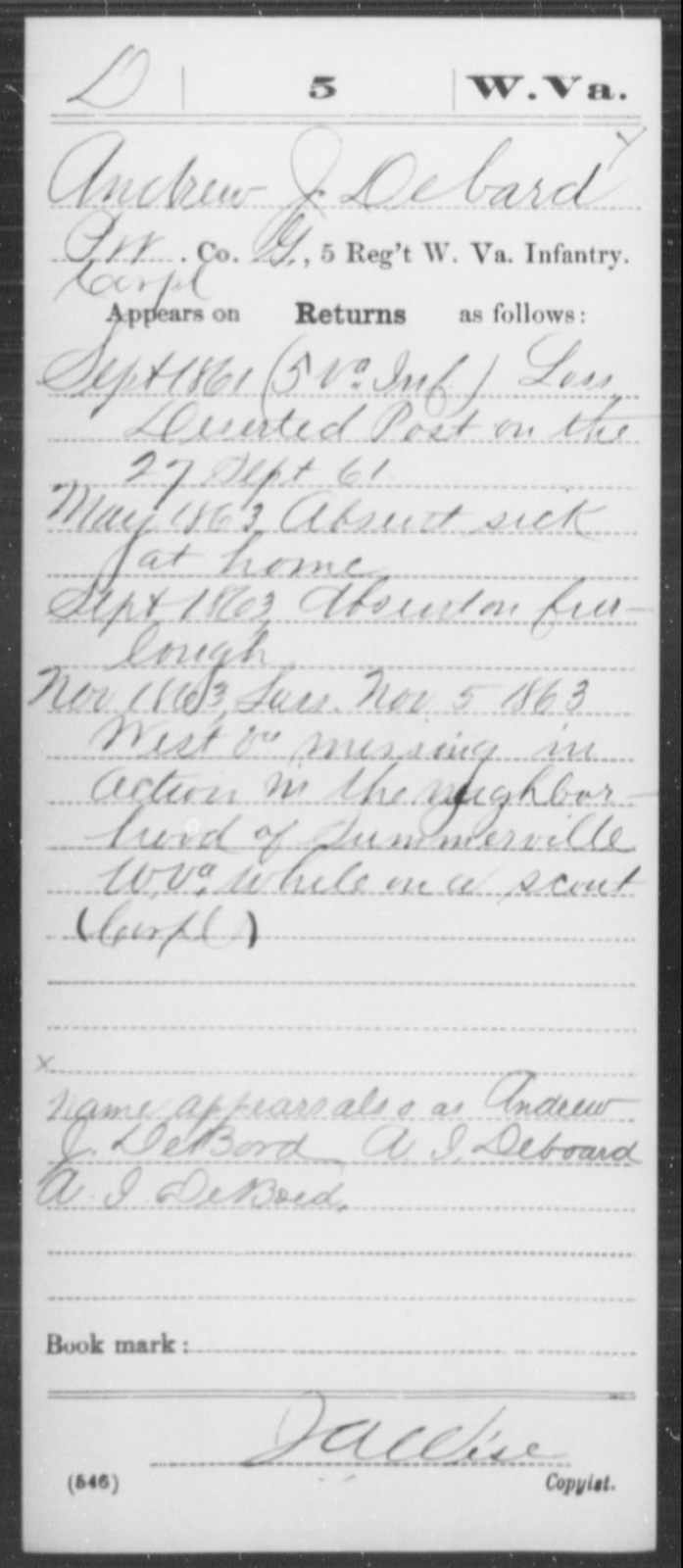 Debard, Andrew J - Age [Blank], Year: 1861 - Miscellaneous Card Abstracts of Records - West Virginia