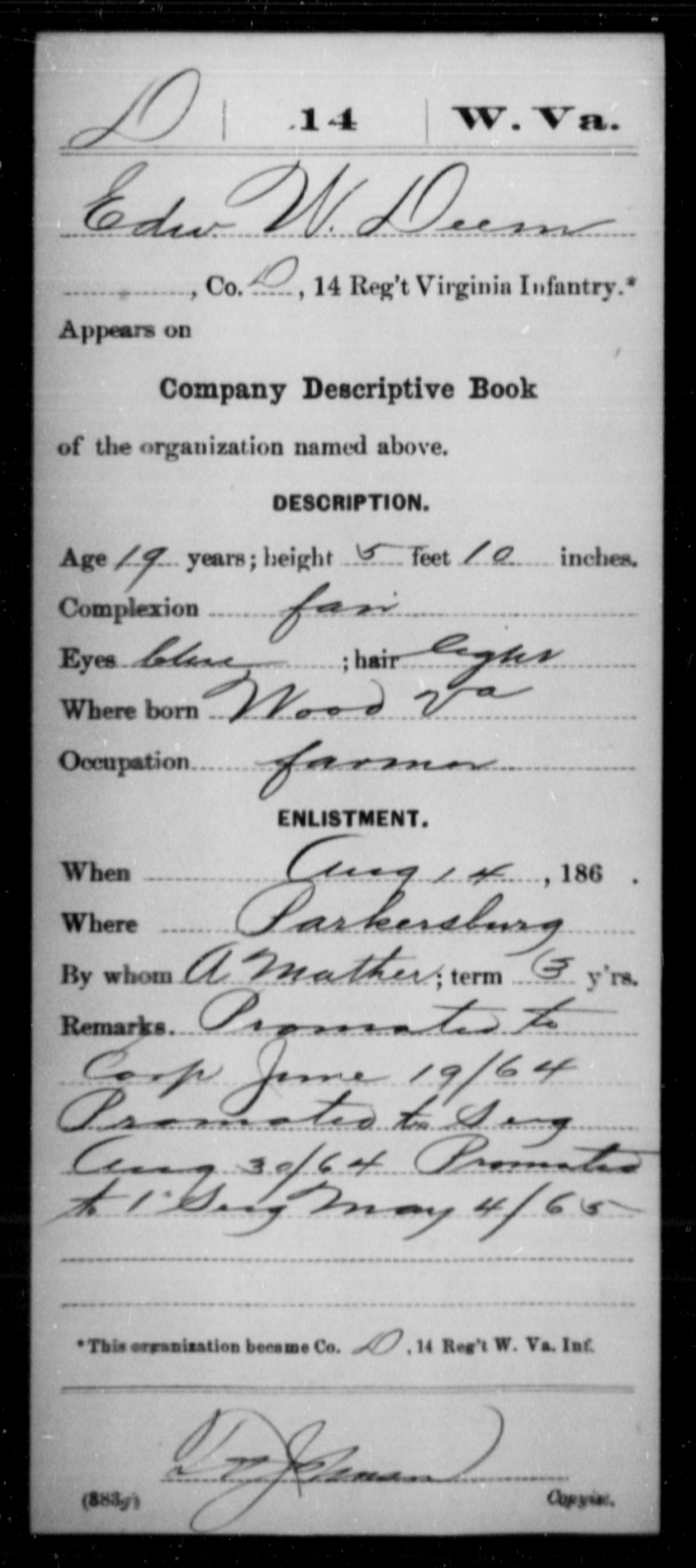 Deem, Edw W - Age 19, Year: 1864 - Miscellaneous Card Abstracts of Records - West Virginia
