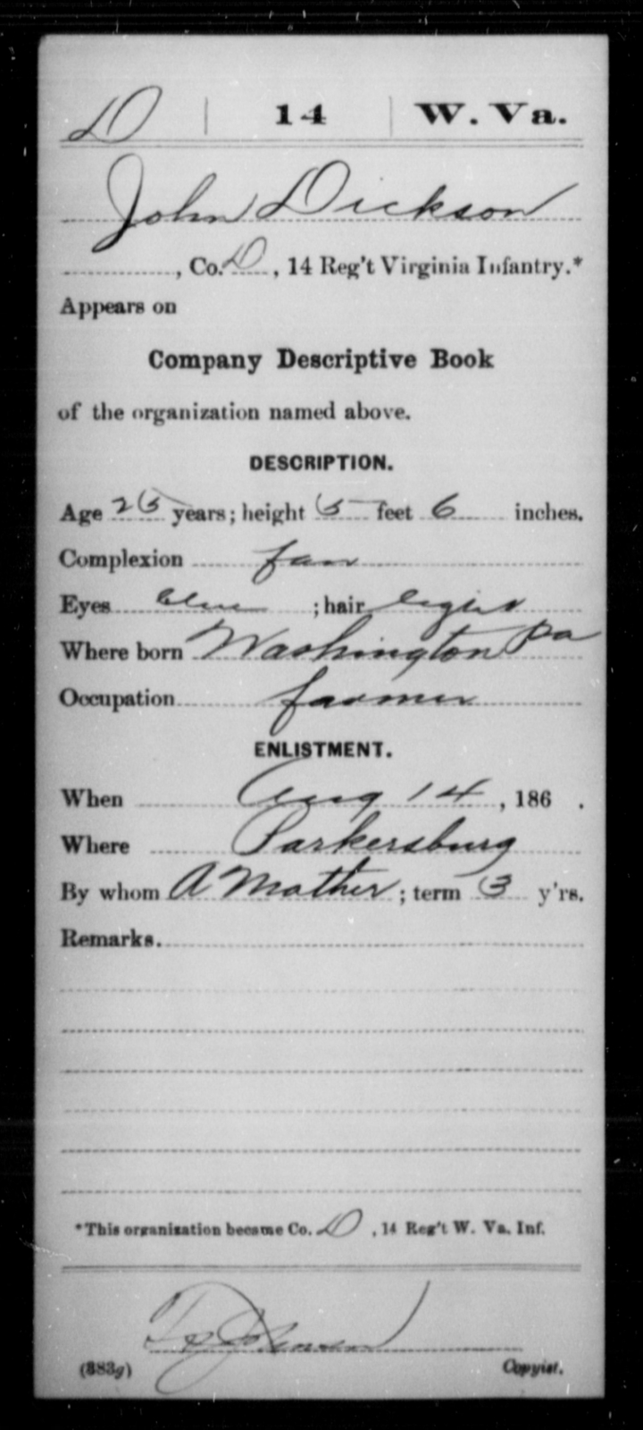 Deickson, John - Age 25, Year: 1862 - Miscellaneous Card Abstracts of Records - West Virginia