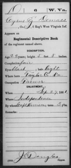 Demass, Cyrus E - Age 22, Year: 1861 - Miscellaneous Card Abstracts of Records - West Virginia