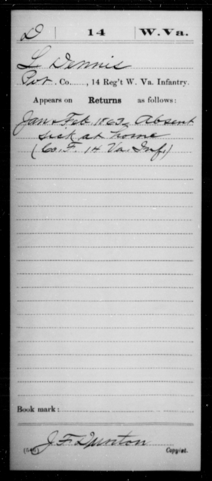 Dennis, L - Age [Blank], Year: 1863 - Miscellaneous Card Abstracts of Records - West Virginia