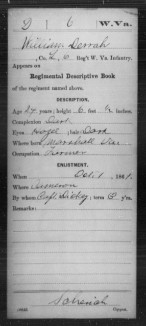 Derrah, William - Age 24, Year: 1861 - Miscellaneous Card Abstracts of Records - West Virginia