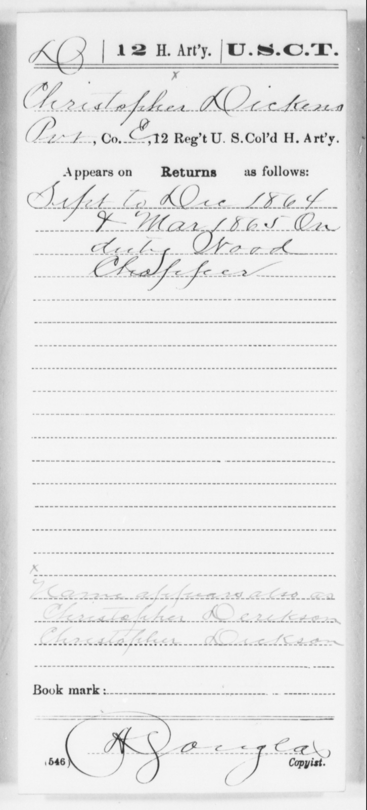 Dickens, Christopher - Age [Blank], Year: 1864 - 12th US Colored Heavy Artillery, Wo-Y AND Misc Cards, B-H - United States Colored Troops: Artillery Organizations