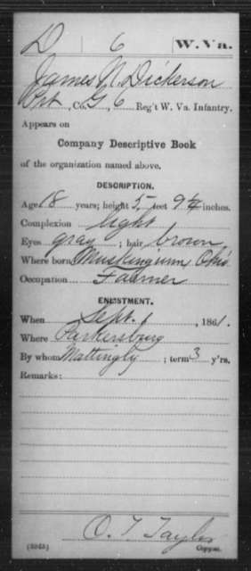 Dickerson, James N - Age 18, Year: 1861 - Miscellaneous Card Abstracts of Records - West Virginia