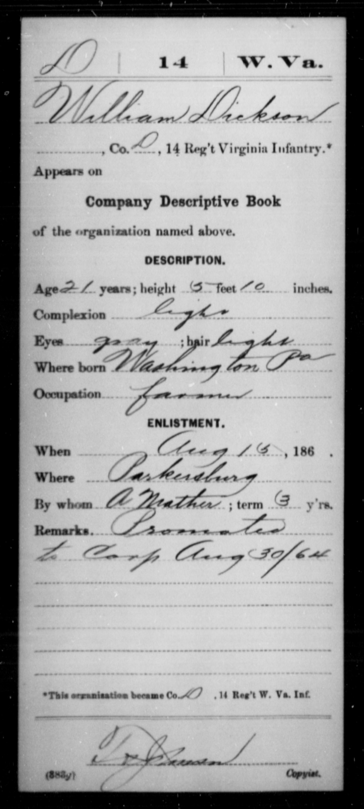 Dickson, William - Age 21, Year: 1864 - Miscellaneous Card Abstracts of Records - West Virginia
