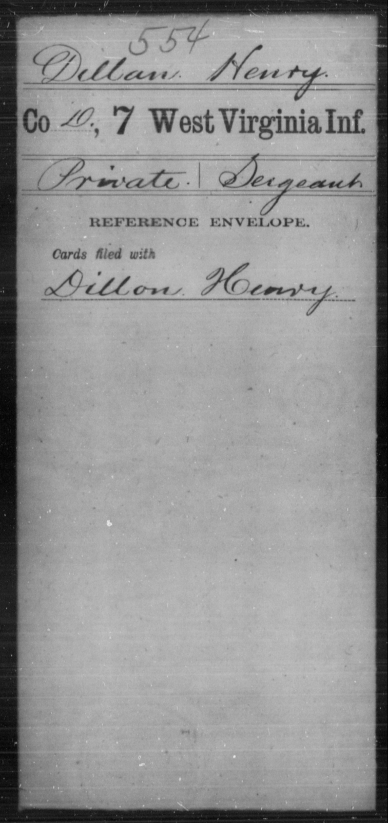 Dillan, Henry - Age [Blank], Year: [Blank] - Seventh Infantry - West Virginia